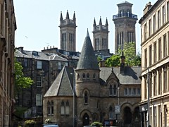 Glasgow turrets (Wider World) Tags: park college church scotland sandstone glasgow towers steeple classical neogothic westend tenement lombardy