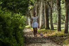 The lady with the dog (Irina1010) Tags: light woman dog lady canon spring alley shadows walk candid sunny charleston middletonplace chekhov ladyandthedog outstandingromanianphotographers magnolistrees magnoliaalley
