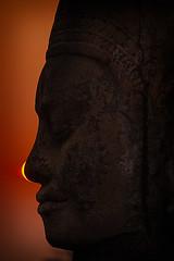 _MG_0945 Sunset South Gate3 (otaphoto1) Tags: bridge light sunset red portrait sculpture sun silhouette statue cambodia dof head ruin thom angkor canon70d