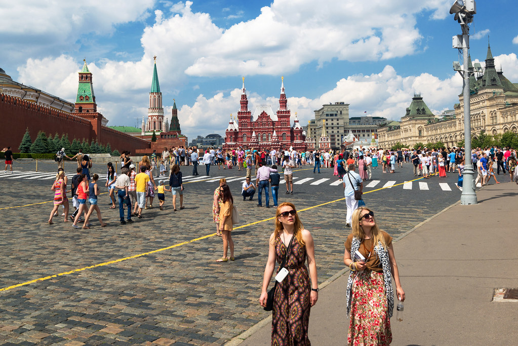 Tourists visiting the Red Square on july 13, 2013 in Moscow, Russia
