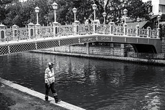 bridge (Berkan Byktmbk) Tags: street bridge people blackandwhite bw man monochrome stairs river outdoor streetphotography human fujifilm worker streetphoto xt1
