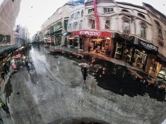 A Wet, Watery & Warped #Selfie (michellerobinson.photography) Tags: selfportrait colour reflection weather photography rainyday australia warped adelaide curved raining southaustralia 43 selfie rundlemall mallsballs michellerobinson 4tografie michmutters