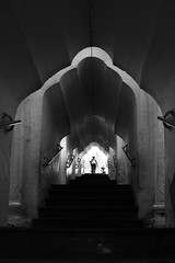 (cherco) Tags: shadow blackandwhite woman blancoynegro up silhouette stairs composition canon vanishingpoint mujer alone arch sombra solo repetition 5d myanmar lonely silueta solitary arco solitario subir composicion repeticion