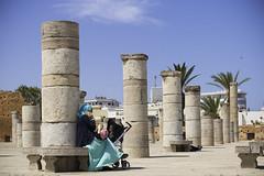 A l'ombre des vestiges (sidcamelot) Tags: perspective bleu ciel maroc maman bb mosque poussette colonnes vestiges