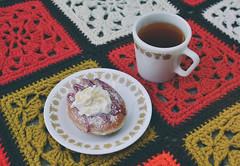 Doughnut Appreciation (flyingclubhouse) Tags: tea doughnut afghan pyrex grannysquare butterflygold 70safghan