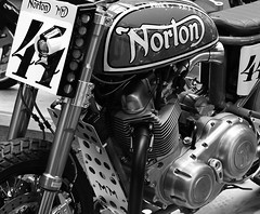 Norton Flattracker (The Landscape Motorcyclist) Tags: norton flattracker bw mono bikeshed custom motorcycle nikon df ohlins