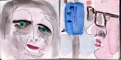 wenn wir durch die Stadt fahren und uns treffen, sehen wir nicht auf, um den Lauf der Dinge nie zu gefhrden (raumoberbayern) Tags: auto city pink winter bus fall smart car pencil paper munich mnchen landscape herbst tram sketchbook stadt papier landschaft bleistift robbbilder skizzenbuch strasenbahn