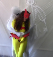 Batwoman vs Stickyman (Spandxcomics) Tags: cosplay batman batgirl spandex peril batwoman unitard superheroine