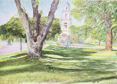 Cathedral in Chisinau City Park. (echointhememory) Tags: park summer people sunlight art nature sunshine illustration watercolor painting landscape sketch cathedral drawing watercolour oudoor chisinau moldova watercolorpencils aquarell pleinair