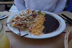 Fish tacos at Pica's in Lousville, Colorado. (Let Ideas Compete) Tags: restaurant rice tacos plate mexican taco blackbeans mexicanrestaurant fishtacos