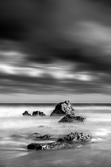 Pause (Marty Friedel) Tags: ocean longexposure sea sky blackandwhite sun mist beach water clouds landscape sand rocks outdoor au australia victoria filters aireysinlet surfcoast splitpoint