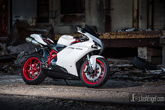 Geoff's Ducati 848 EVO (JoshEngelPhotography) Tags: red white bike photography industrial cincinnati motorcycles bikes josh motorcycle engel ducati evo junkies 848 afj assfault