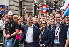 Sadiq Khan, Mayor of London, at head of Pride Parade, 25 June 2016 (chrisjohnbeckett) Tags: lgbt sadiqkhan mayor london pride celebration parade gay difference equality chrisbeckett canonef24105mmf4lisusm people group wave londonunderground piccadilly 2016 smile photojournalism global red londonist timeout rainbow documentary street urban muslim