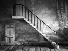Hidden Doorways (Tracey Whitefoot) Tags: door two white black castle monochrome stone wall stairs mono wooden doors shadows derbyshire steps stairway hidden tracey doorways elvaston 2016 whitefoot