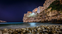 Shingle Beach (WaSz-Fotograf) Tags: street city travel blue light sunset sea summer sky italy green beach water beautiful architecture night it puglia włochy polignanoamare 500px ifttt