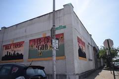 Painted Signs (Sam DeGenova) Tags: baltimore buildings city cars sun shine reflections people street america