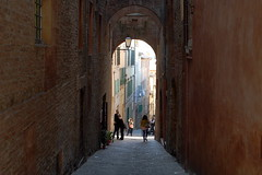The Passageway (avundukh) Tags: italy people passage street tunnel old town sienna stone building historic history oldtown tourist tourism europe narrow