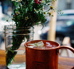 Mule-ish (elevatoro) Tags: flowers summer shop day drink moscow alcohol copper mug williamsburg vodka easy meatball mule