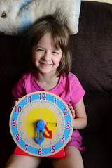 Rose and Her Clock (Vegan Butterfly) Tags: cute clock girl person kid vegan child time adorable math homeschool telling homeschooling manipulative