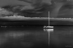 Thunderstorm Approaching (WherezJeff) Tags: ca blackandwhite bw lake canada storm reflection beach june alberta catamaran pigeonlake tstorm 2016 mameobeach mameo abstorm