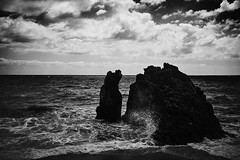 Why are we here? (igo.rs) Tags: cliff seaside ocean sky cluds waves sea water clouds seascape black white
