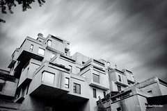 Habitat '67 (/ shadows and light) Tags: longexposure sky bw monochrome architecture clouds quebec montreal architectural expo67 habitat67 trixgrain architectmoshesafdie