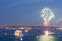 Norwegian Breakaway heading out to sea. (Jay Fine) Tags: seascape night landscape boats evening fireworks ships maritime ncl nyharbor norwegianbreakaway cruiseshipbreakaay