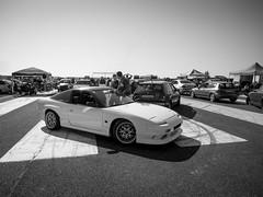 Drag race [EXPLORED] (Locsmandisz) Tags: people blackandwhite bw white car race honda drag performance olympus tuning omd