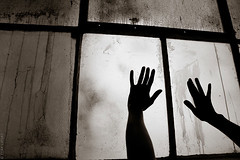 boundaries (goclaygo) Tags: blackandwhite woman window vintage trapped scary hands noir moody dirty isolation claylipsky goclaygo
