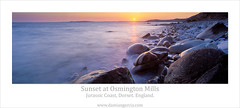 Sunset at Osmington Mills (Damian Garcia Gallery) Tags: sunset sea england panorama wet stone portland coast photo rocks europe fuji britain united tide low great kingdom panoramic dorset mills isle weymouth jurassic purbeck photgraphy jurasic osmington gx617