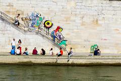 Lazy Day in Paris (Kathy~) Tags: 2013 asia june paris city people fun lazyday hangingbytheriver steps stairs france favescontestwinner herowinner fotocompetition fotocompetitionbronze favescontestfavored favescontesttopseed ultraherowinner gamewinner showbizsweepwinner instagram