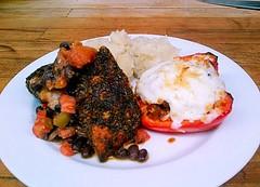Tonight's Addition. (basic_program) Tags: food chicken kitchen blackberry arts cellphone chorizo blackbeans salsa culinary redpepper crappy blackened