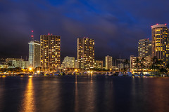 IMG_9805-2 (devoti0n) Tags: ocean city longexposure blue summer sky reflection beach water night clouds photography lights hawaii hotel pier exposure pretty slow pacific waikiki oahu gorgeous slowshutter shutter canon5d honolulu friday alamoana lightroom 2013 summer2013