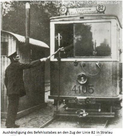 Die Knüppelbahn - Übergabe des Knüppels in Stralau um 1924