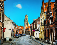 Oostmeers street with St. Salvator's Cathedral Tower - Bruges Belgium (mbell1975) Tags: street tower church abbey saint st de alley san europa europe with cathedral belgium belgique dom brugge belgi kathedrale kirche sint chapel cathdrale di bruges belgian flemish eglise brujas belges salvatore cathedrale kathedraal flanders salvator belgien cattedrale kirke kapelle belgen brgge saintsauveur sauveur sintsalvator salvatorskathedraal belgier sintsalvatorskathedraal salvators oostmeers  stsalvatorkathedrale