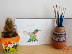 "Work in Progress : "" My Two Lands : Per & U.K "" (Milagritos9) Tags: cactus per brushes acuarelas artistjournal birdillustration hummingbirdart birdjournal hummingbirdportrait colibriart moleskineartpages moleskinewatercoloursnotebook"