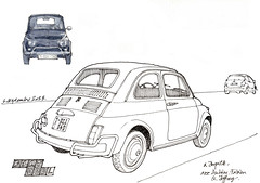 Fiat 500 (gerard michel) Tags: auto sketch belgium fiat croquis