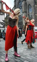 Edinburgh Fringe 2013: The Scarlet Letter (chairmanblueslovakia) Tags: street city pink red festival scarlet scotland high edinburgh theatre stones dr femme capital royal scottish fringe cobble blonde letter hanging mascara ribbon tall lipstick fatale mile livewire smudged martens the