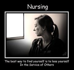 Nursing Poster (McBay Images) Tags: bw window girl self poster student service motivation nurse ponytail nursing