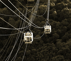 Hanging By A Thread (riceimaging) Tags: brazil monochrome brasil riodejaneiro sepia cables sugarloaf