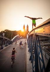 Jule Wiwili (alexemanuelkoch) Tags: road street bridge sunset sky woman girl bike bicycle female way high power control fear gymnast strong balance handstand freiburg brcke fahrrad angst mut courage turnen hoch stahltrger stehen gleichgewicht alexkoch wiwili turnerin alexemanuelkoch