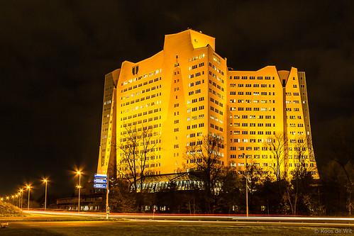 Gasunie building Groningen at night