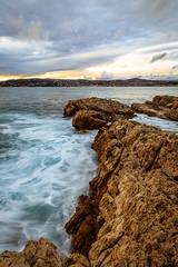 On the rocks (Louis Lefranc) Tags: sunset sea wild sun france clouds canon roc rocks long exposure mediterranean natural cap eden antibes element