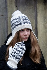 (SandraStJu) Tags: winter white black hat women knitting folk handknit clothes cap nordic accessories beanie knited