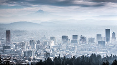 Misty Morning Mountain Cityscape - Portland (Paul Ei) Tags: city morning mist mountains clouds oregon portland cityscape mounthood portlandg