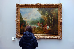 Beth looking at Watteau's Pilgrimage to Cythera
