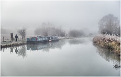 Misty cold morning (lovestruck.) Tags: uk morning winter england man cold reflection water misty walking geotagged town canal frost january foggy hungerford berkshire narrowboat towpath moored kennetandavoncanal cyspecialchallenge2nd geo:lat=51416383568433396 geo:lon=15219450330657764