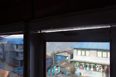 Window gap in room in Ghorepani, Nepal (Matt-Zimmerman) Tags: nepal camp cold window trek gap base annapurna 2012 ghorepani westernregion ghodepani