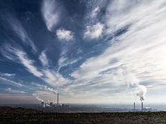 Sky above the Ruhr Area (bernd obervossbeck) Tags: chimney sky industry landscape himmel steam landschaft industrie ruhrgebiet sweep kamin ruhrarea dampf herten qualm landscapephotography halde haldehoheward landschaftsfotografie schlote pitheadstocks