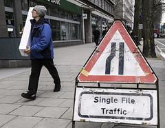 Single File Traffic (stevedexteruk) Tags: road man london westminster sign court traffic file single works parcel tottenham 2014